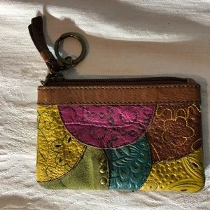 Fossil Leather Coin Purse ID Holder Key Chain